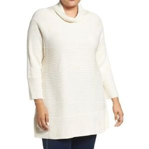 Vince Camuto mock neck white ribbed sweater